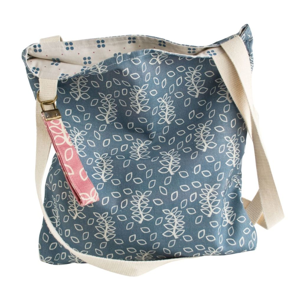 Handmade blue leaves tote bag