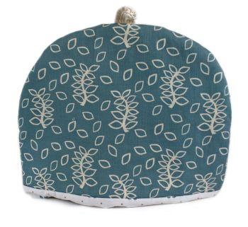 Blue leaves design tea cosy