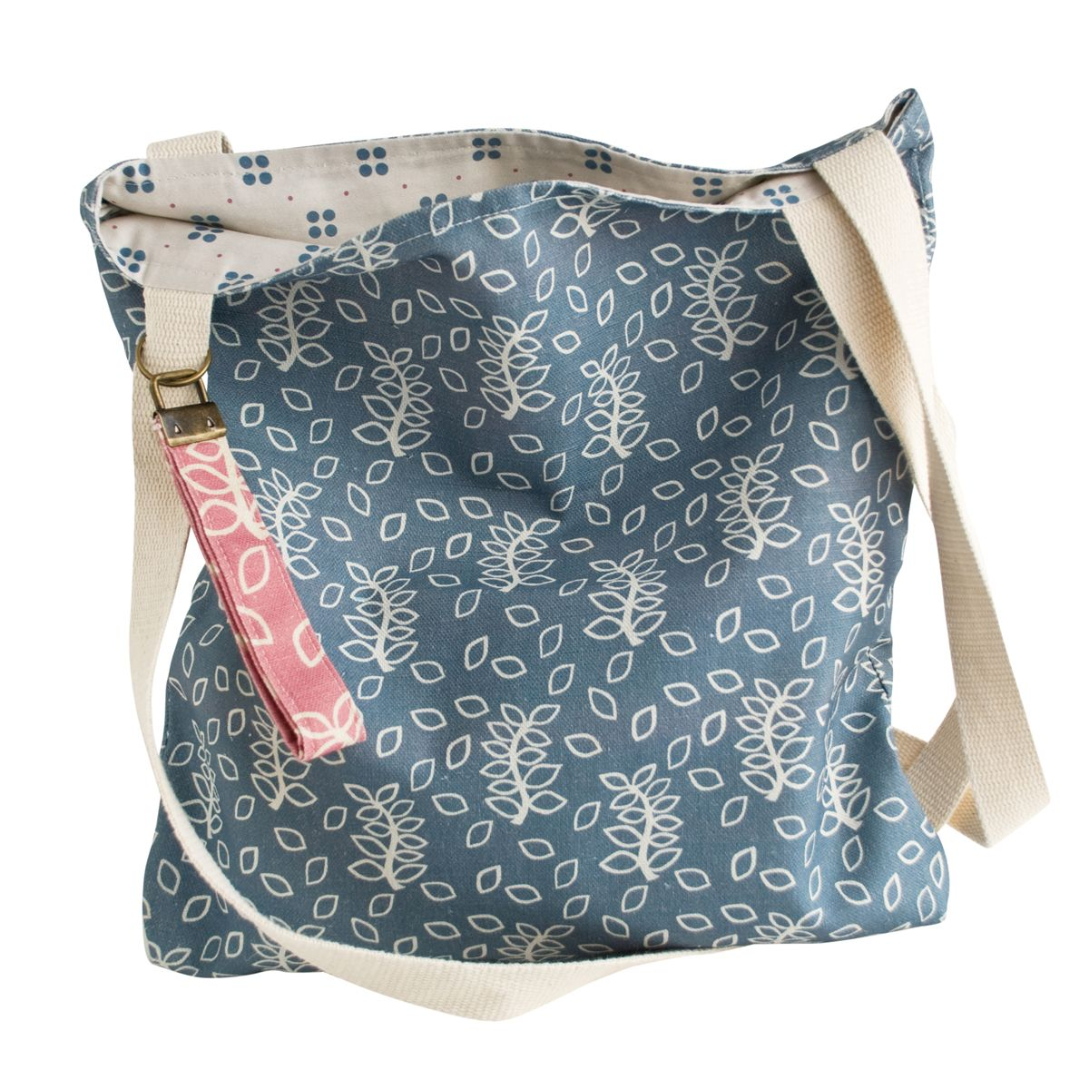 Nutmeg and Sage blue leaves design shoulder bag