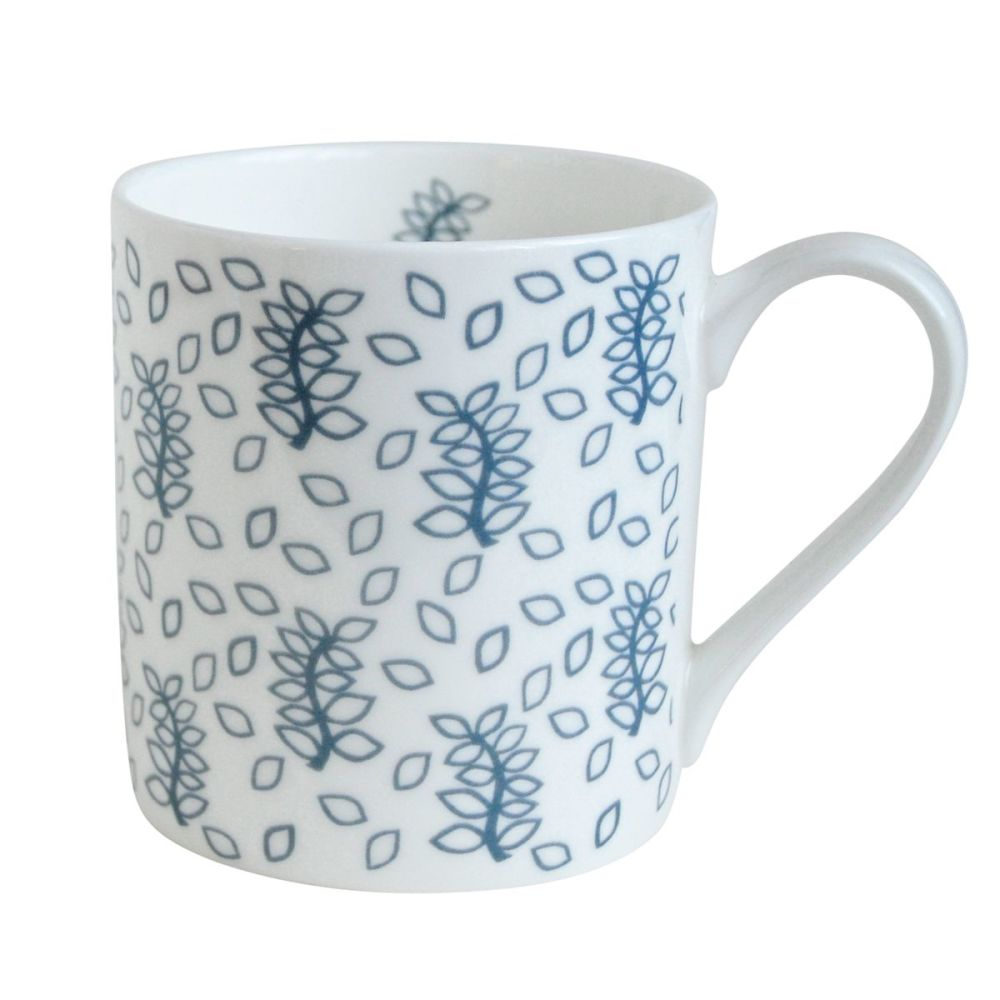 Blue leaves china mug