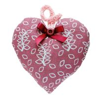Dusky rose lavender heart with velvet bow