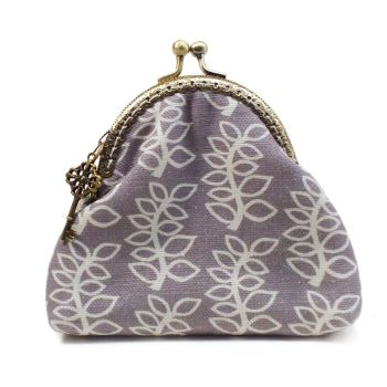 Stone grey leaves clasp purse