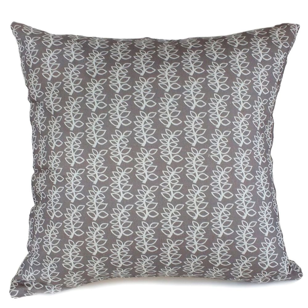 Stone grey leaves linen cotton mix cushion
