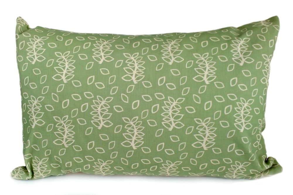 Green leaves design large lumbar cushion