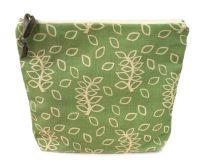 Large pouch in green leaves design