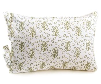 White and green leaves design lumbar cushion