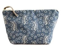 Blue leaves medium cosmetic pouch