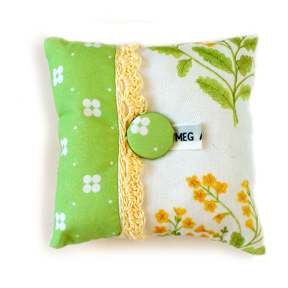 Pin cushion in cowslip design fabric