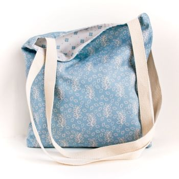 Duck egg blue leaves tote bag