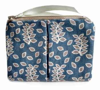 Blue stone leaves coin purse