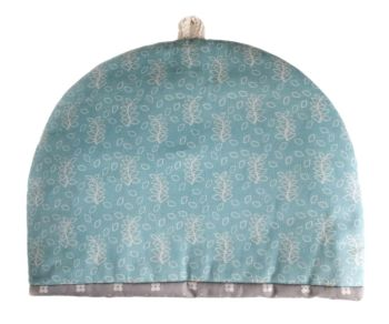 Duck egg blue leaves design tea cosy