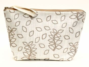 Ivory leaves medium cosmetic pouch