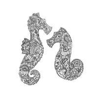Floral seahorses design greetings card