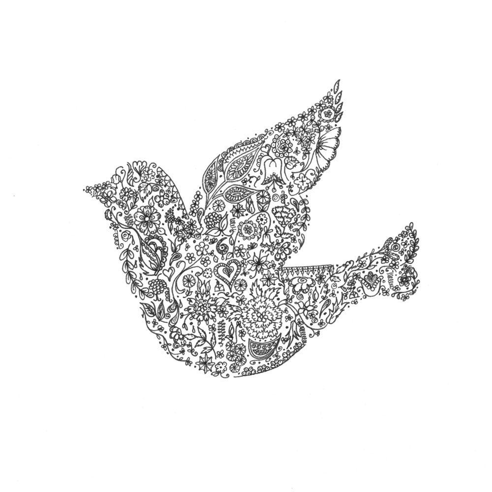 Floral bird design greetings card