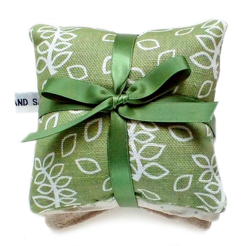 Green leaves lavender pillows gift