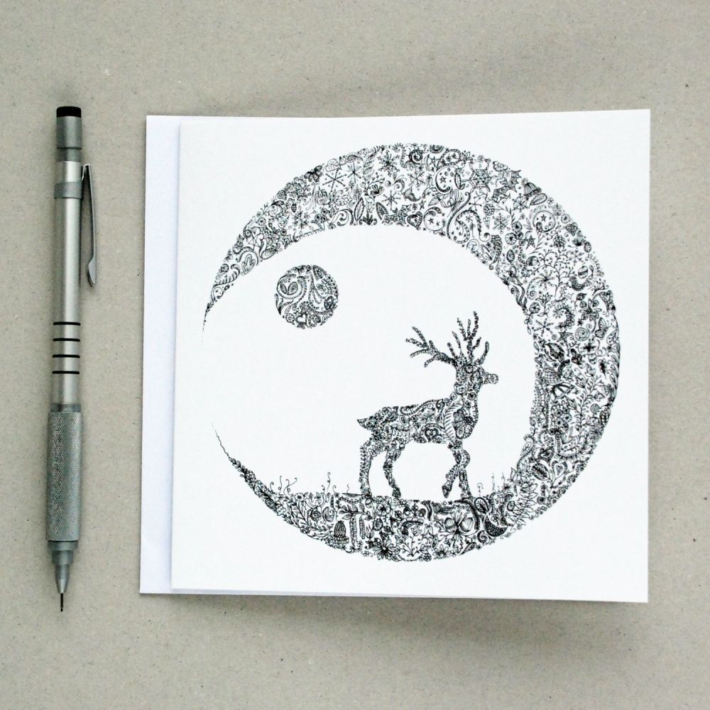 Floral stag and moon greetings card