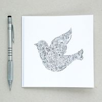Floral bird design greetings card