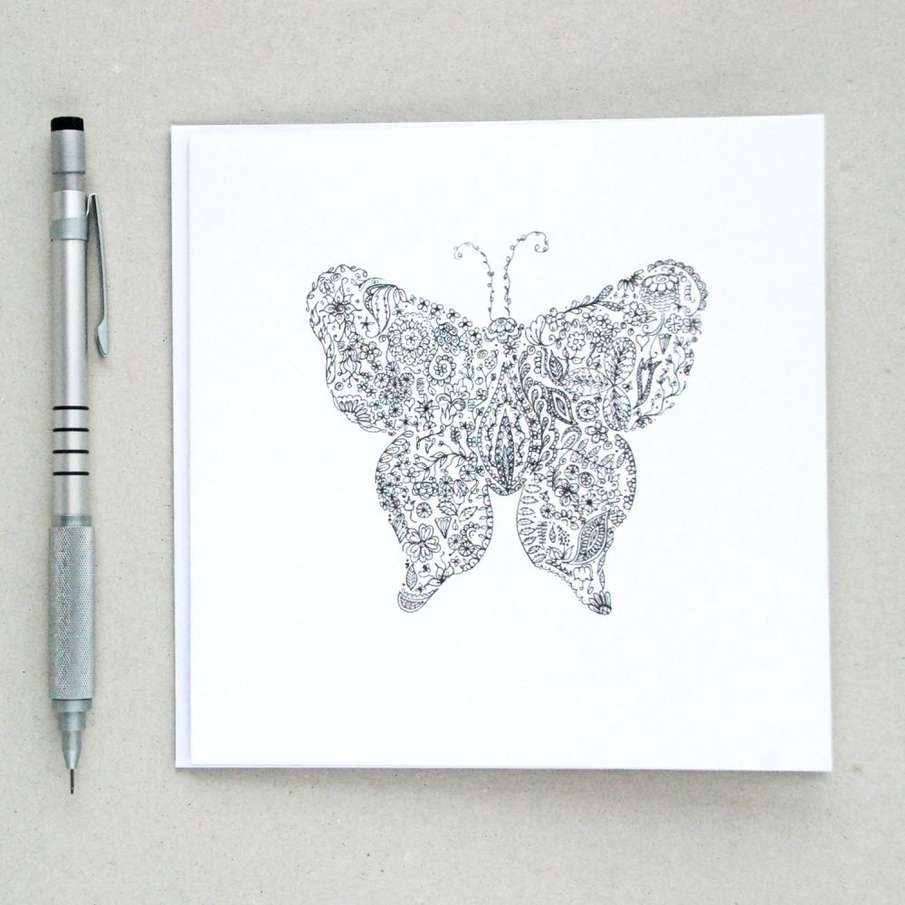 Floral butterfly design greetings card