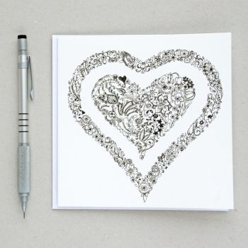 Floral heart design greetings card