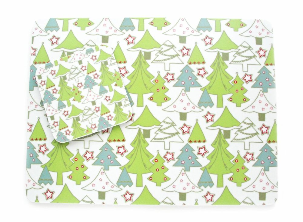 Green trees melamine place mats