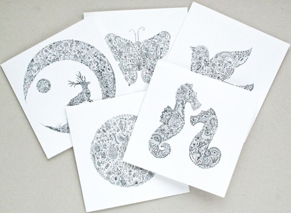 Floral abstract pack of greetings cards