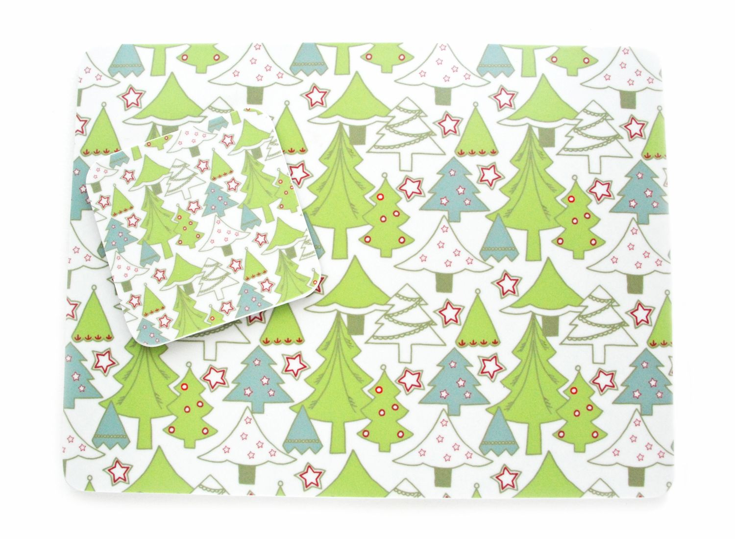 Christmas green trees placemats