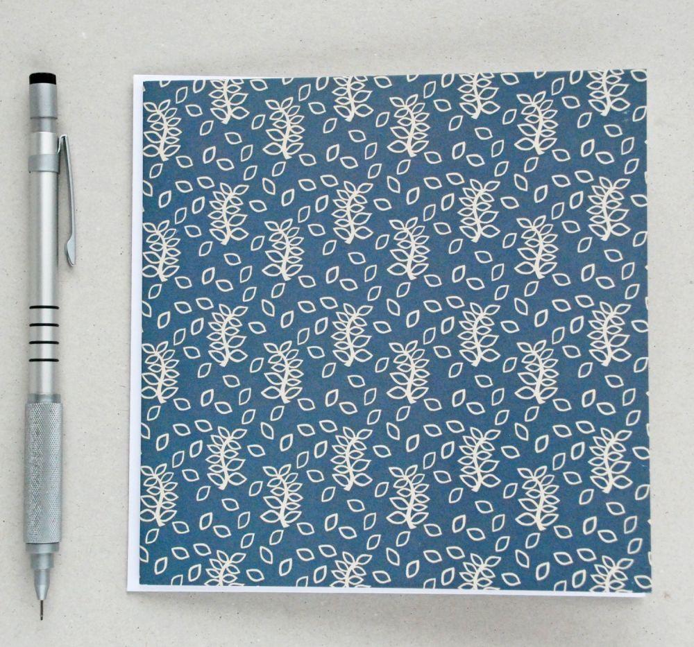 Blue leaves greetings card