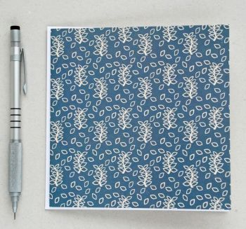 Blue leaves greetings card