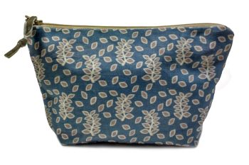 Blue stone leaves medium cosmetic pouch