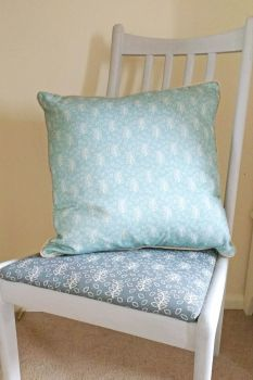 Duck egg leaves cushion with velvet piping