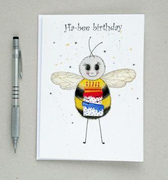 Ha-bee birthday greetings card