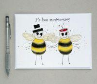 Ha-bee anniversary greetings card