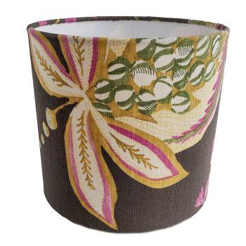 Brown floral screenprint lampshade