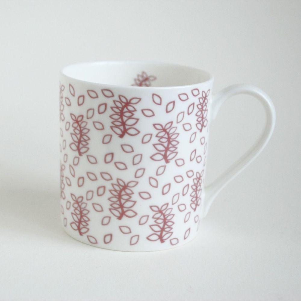 Dusky leaves china mug