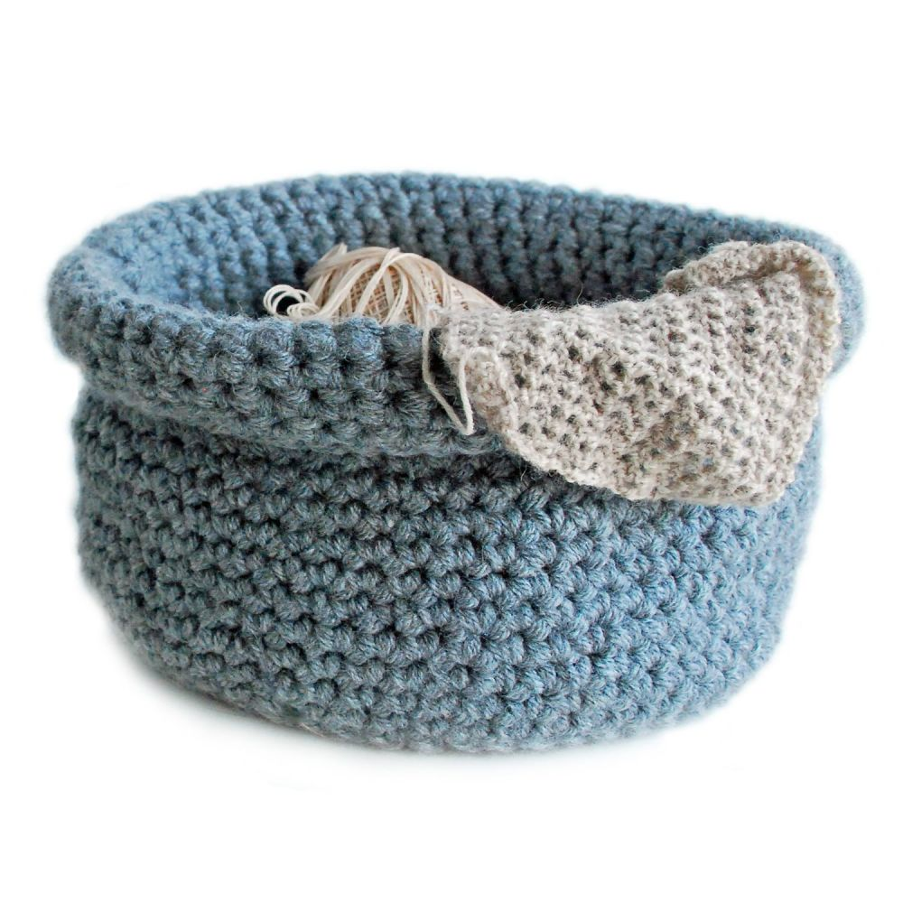 Hand crocheted basket in grey