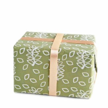 Sage green leaves gift wrap