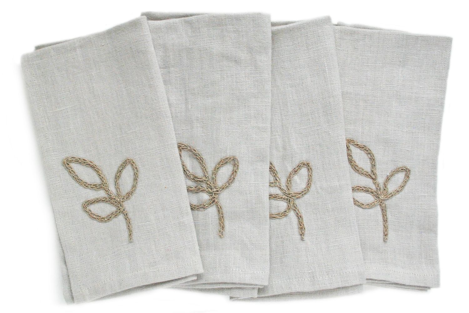 Linen napkins with hand crocheted leaves