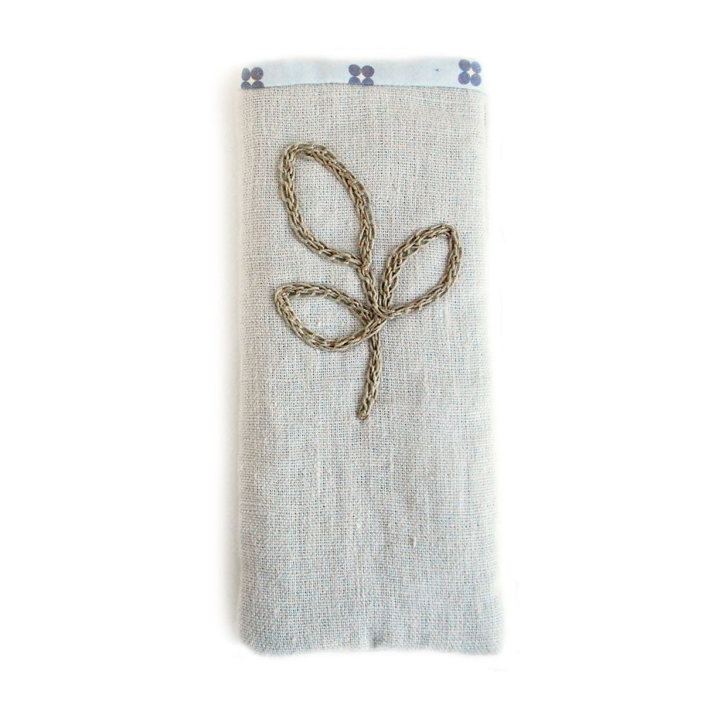 Linen specs pouch with crocheted leaf detail
