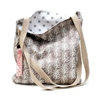 Stone grey leaves tote bag with inside pocket