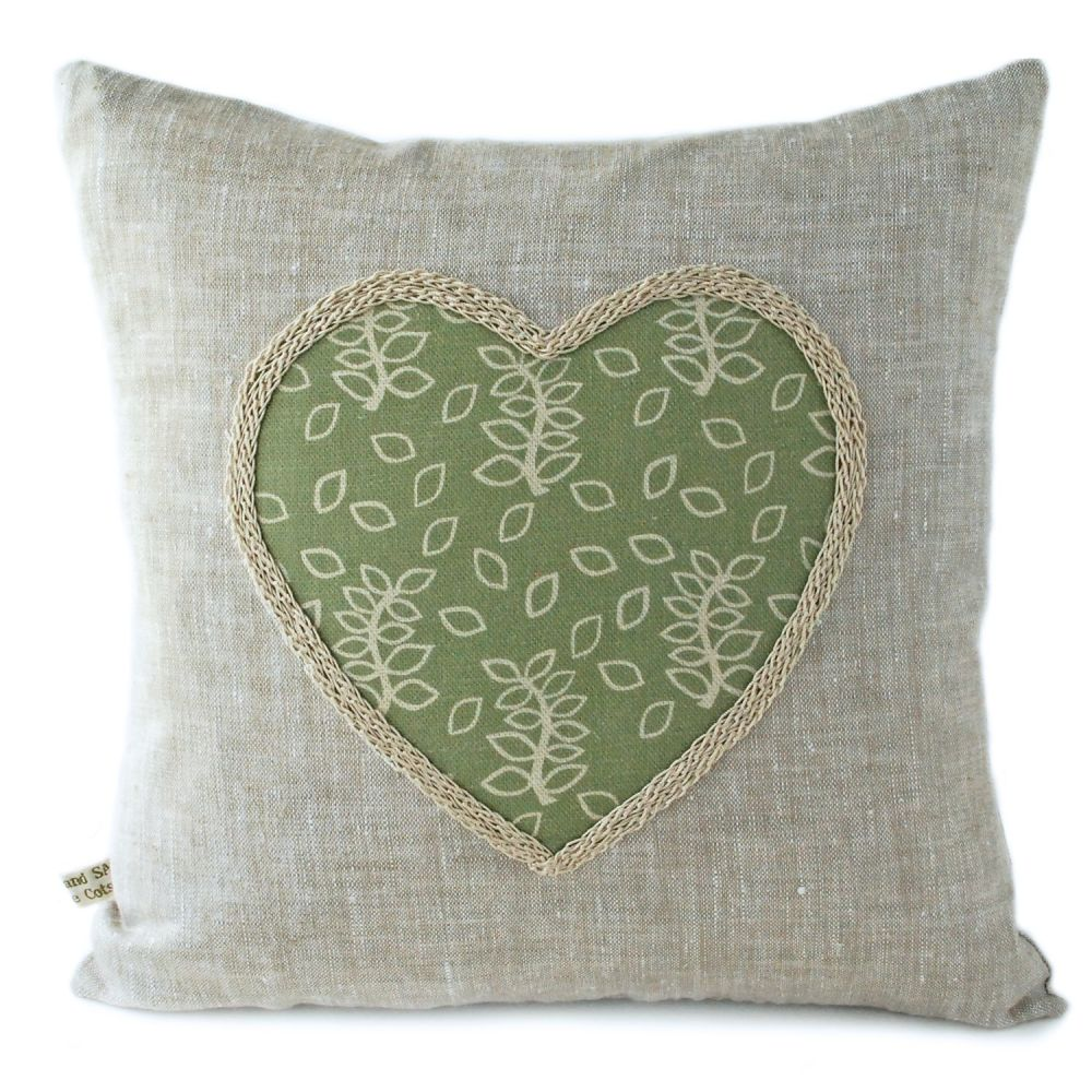 Linen cushion with lavender and green leaves heart detail
