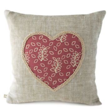 Dusky leaves linen cushion with heart detail