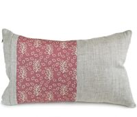Linen lumbar cushion with a dusky rose leaves panel detail