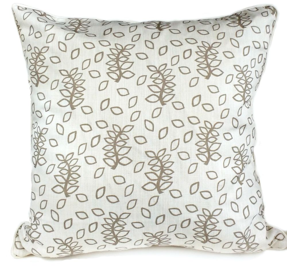 Ivory leaves cushion with self piping