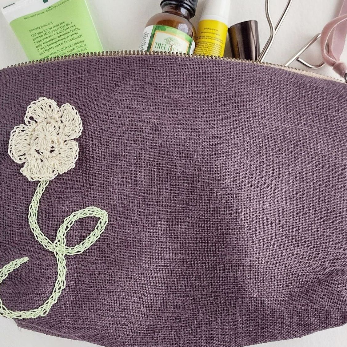 Linen embellished pouches