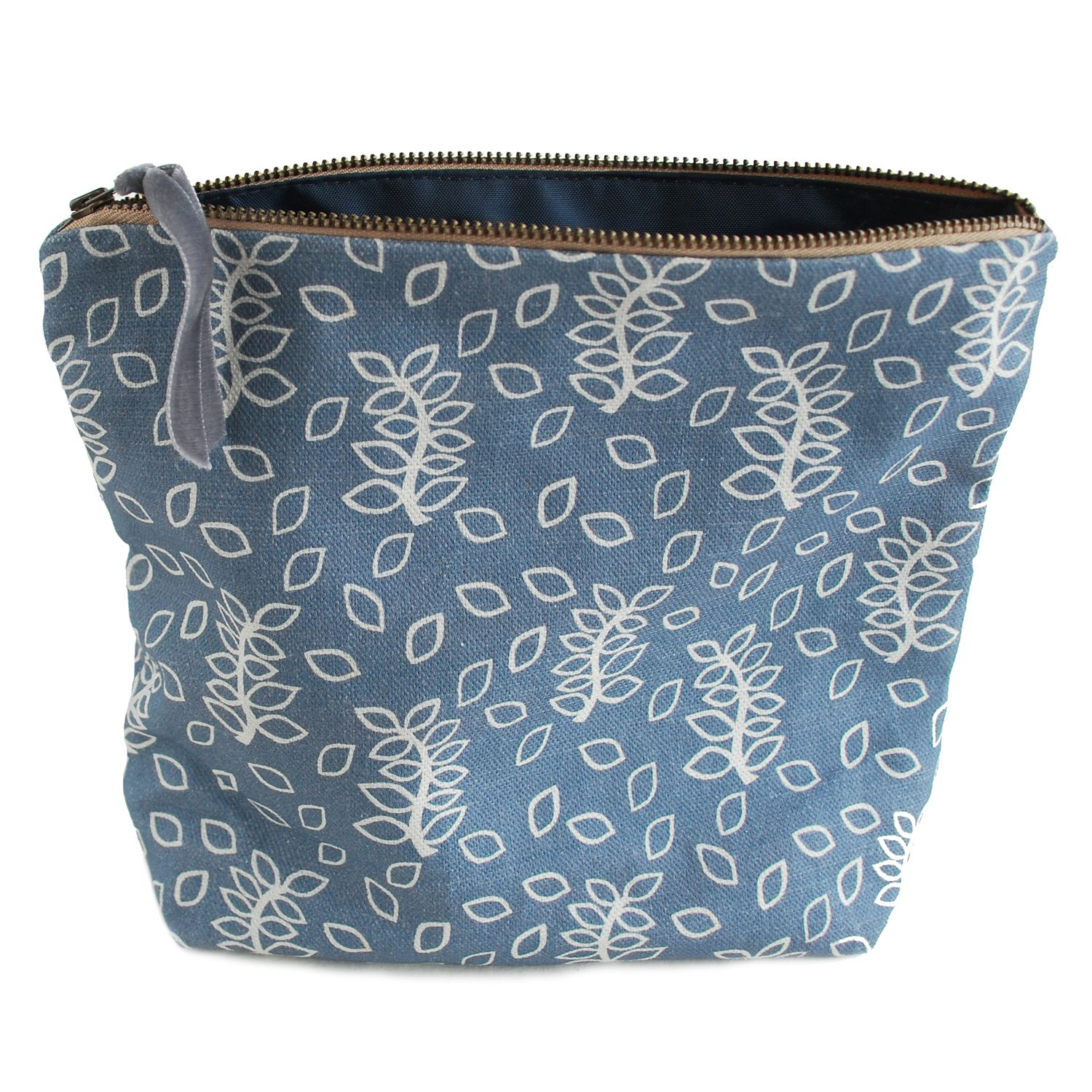 Blue leaves cosmetic pouch