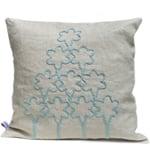 Flower tree design linen cushion