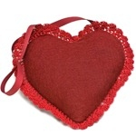 Red wool felt heart lavender bag