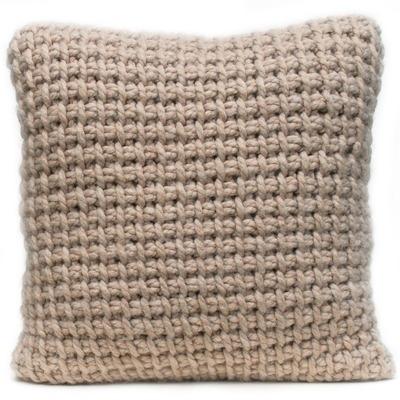 Tunisian crocheted cushion in fawn