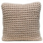 Tunisian crocheted cushion in fawn