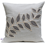 Linen cushion with leaf design